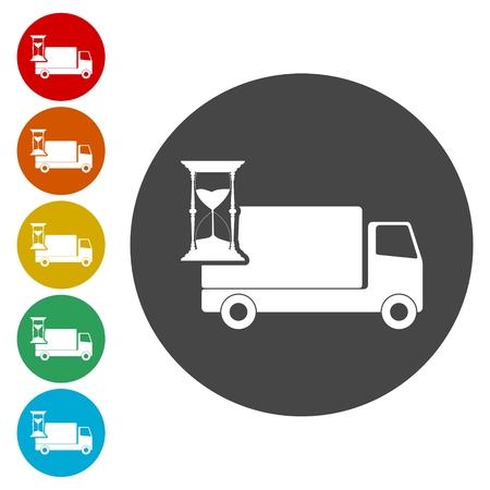 Camion avec horloge, jeu d'icônes de livraison rapide Banque d'images - 80820264