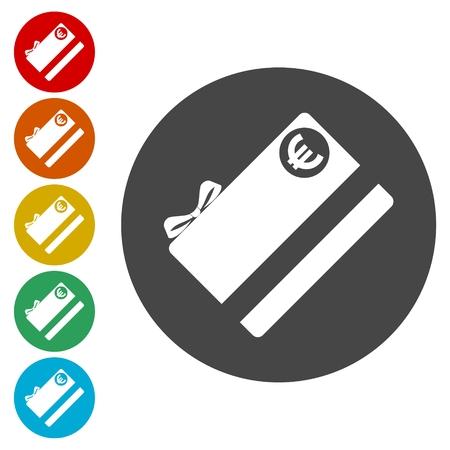 Shopping gift card icons set Illustration