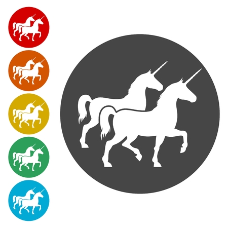 rebellious: Silhouette of Unicorn Horse line icons set