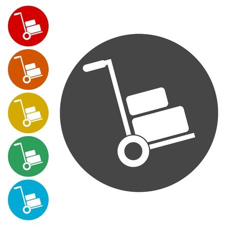 Icone di Handcart impostare illustrazione vettoriale.