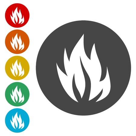 Fire flames, sticker set Stock Illustratie