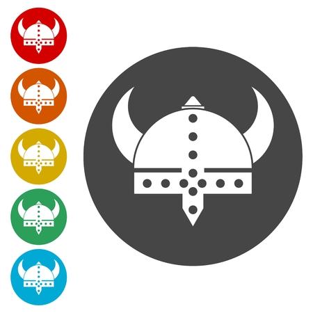 Viking helmet - vector icons set. Illustration