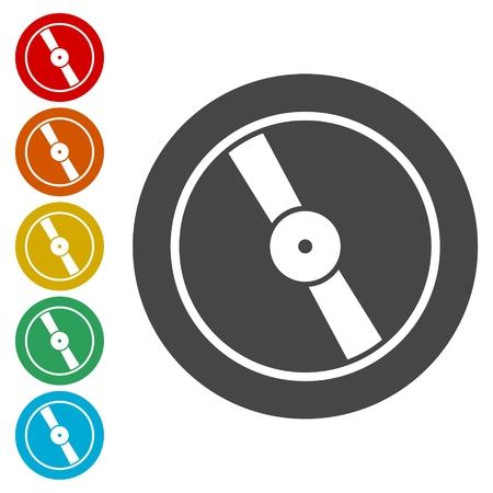 Vinyl icon, Vector musical plate icon