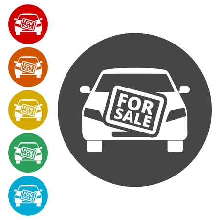 Car for sale icon Illustration