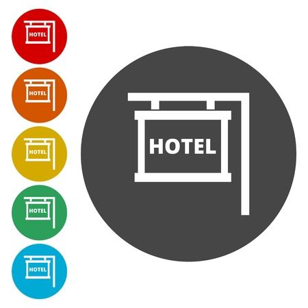 Hotel Signboard Vector Icon 向量圖像