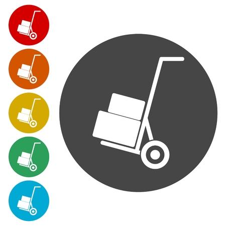 Icône Handcart, vecteur icône Banque d'images - 81958774
