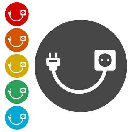 Plug socket and cord, Wire, socket and electric plug illustration. Illustration