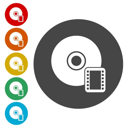 dvd rom: CD with movie flat icon on white background