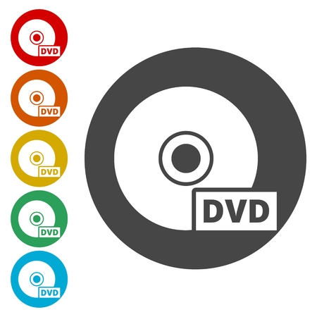 Black dvd icon isolated on white