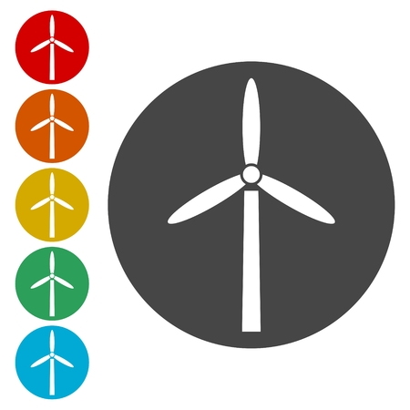 shiny buttons: Wind turbine icon, eco concept