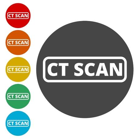 radioactive sign: CT scan icon, CT scanner Illustration