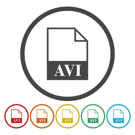 avi: Set of colorful AVI file icon. Illustration