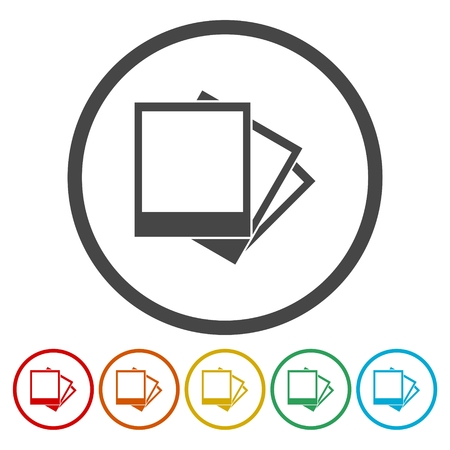 Set of colorful picture icon. Illustration