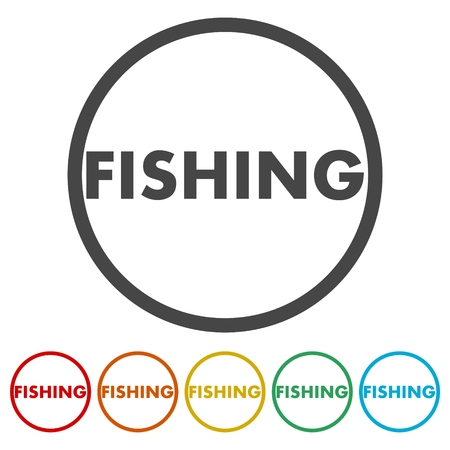 Fishing icon, button Illustration