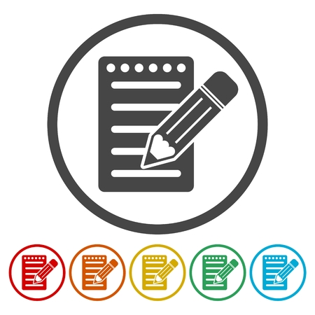 Notebook icon, Document With Pencil Icons set Illustration