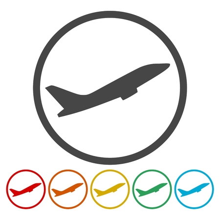 Airplane up icons set Vector illustration.