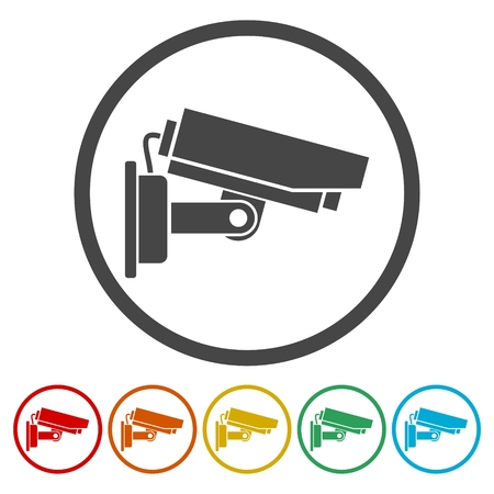 private security: Security camera icons set