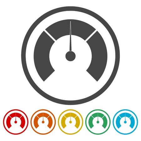 monitor: Temperature gauge,Pressure gauge, manometer icons set