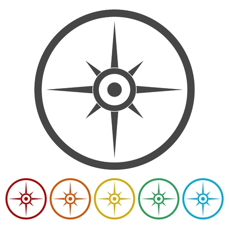 Compass, windrose icon Illustration
