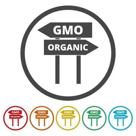 GMO or organic sign set