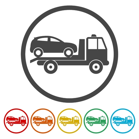 Car towing truck icons set