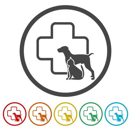 Veterinary icon with medicine symbol set Illustration