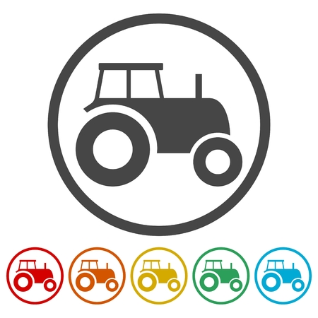 Old Tractor icons set.