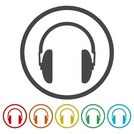 six objects: Headphone icons set