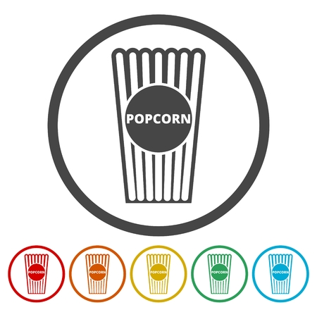 Popcorn icons set Illustration