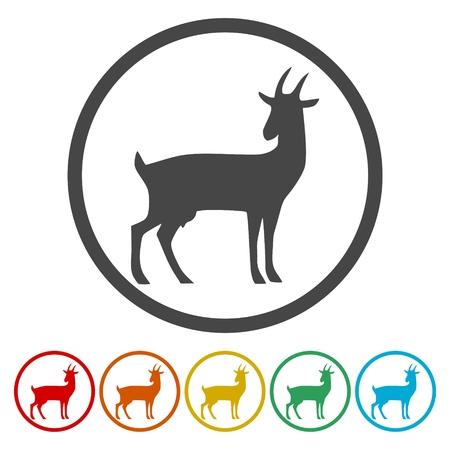 Goat icons set