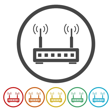 Router icons set