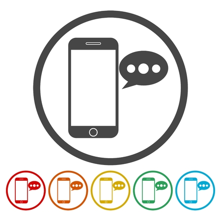 monitor: Smart phone, Voice message icons set