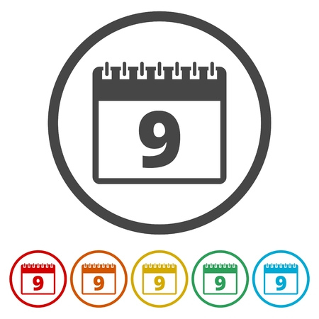 calendar design: Calendar icon - number 9 vector illustration