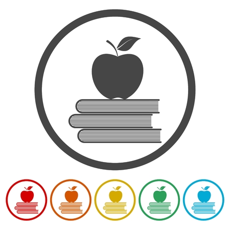 school: Education icons, Vector book with apple set vector illustration