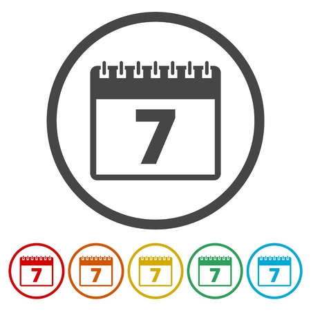 numbers abstract: Calendar icon - number 7 Illustration