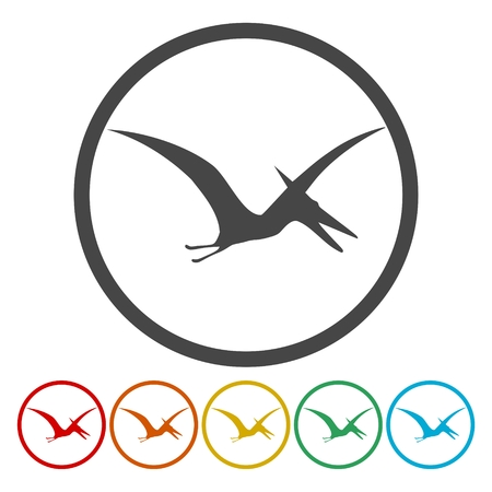 Pterodactyl silhouette icons set Vector illustration. Illustration