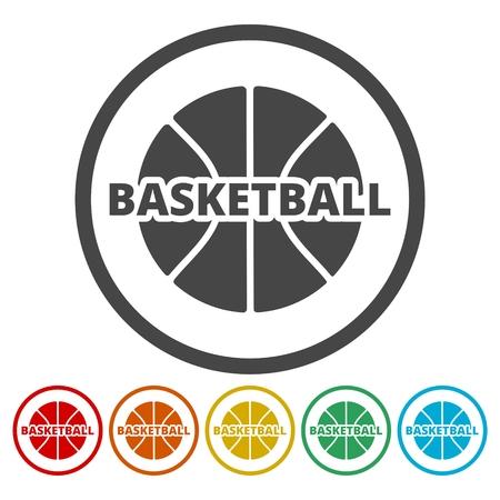Basketbalpictogrammen geplaatst Vectorillustratie. Stock Illustratie