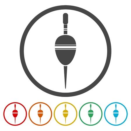 Float bobber symbol, Fishing sign icons set vector illustration