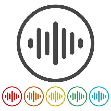 Audio wave icons set.