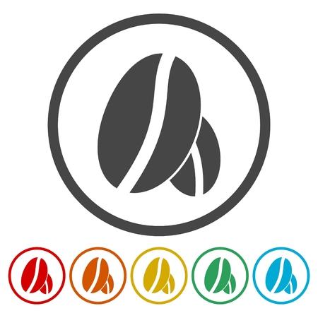 Coffee beans icons set. Ilustração