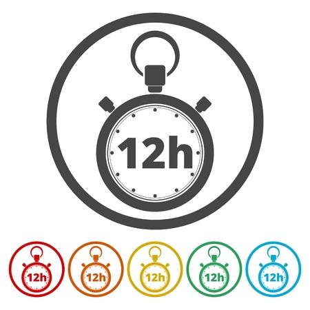 Vector illustration of 12h stopwatch icon Иллюстрация