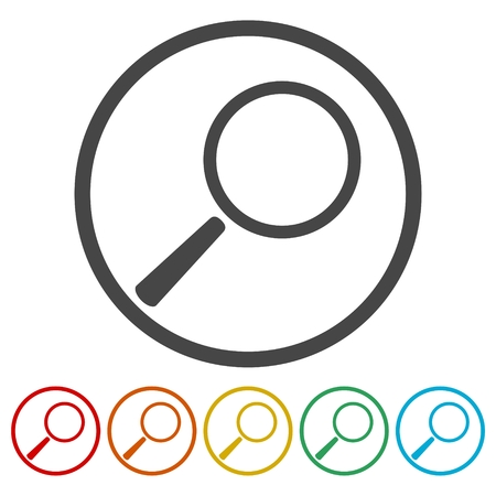 six objects: Magnifying glass, Search Icons set