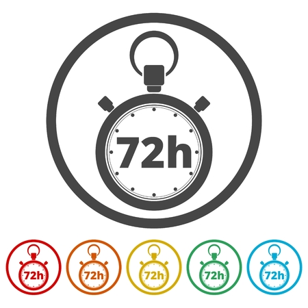 Vector illustration of 72h stopwatch icon Иллюстрация