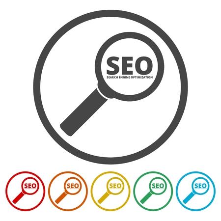 Op zoek engine optimization design, Seo pictogram Stock Illustratie