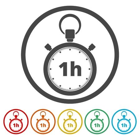Vector illustration of 1h stopwatch icon Иллюстрация