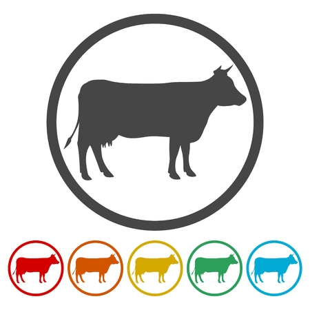Cow silhouette icons set Vector illustration.