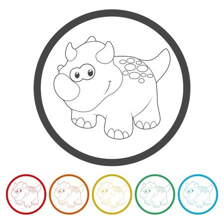triceratops: Cute Cartoon Dinosaur icons set