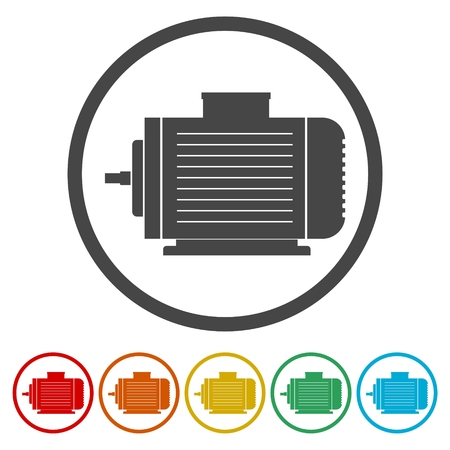 Electric motor icons set