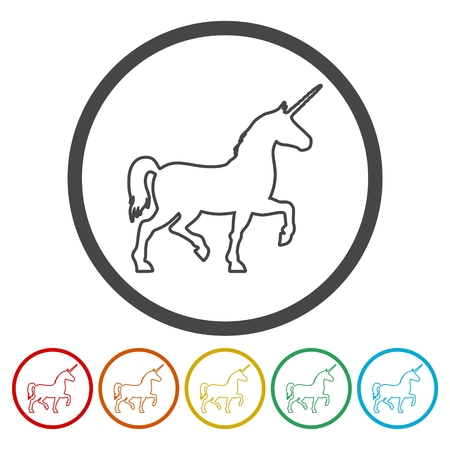 Silhouette of Unicorn Horse line icons set. Illusztráció