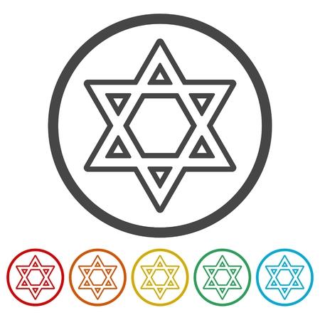 Star of David icons set vector illustration Illustration